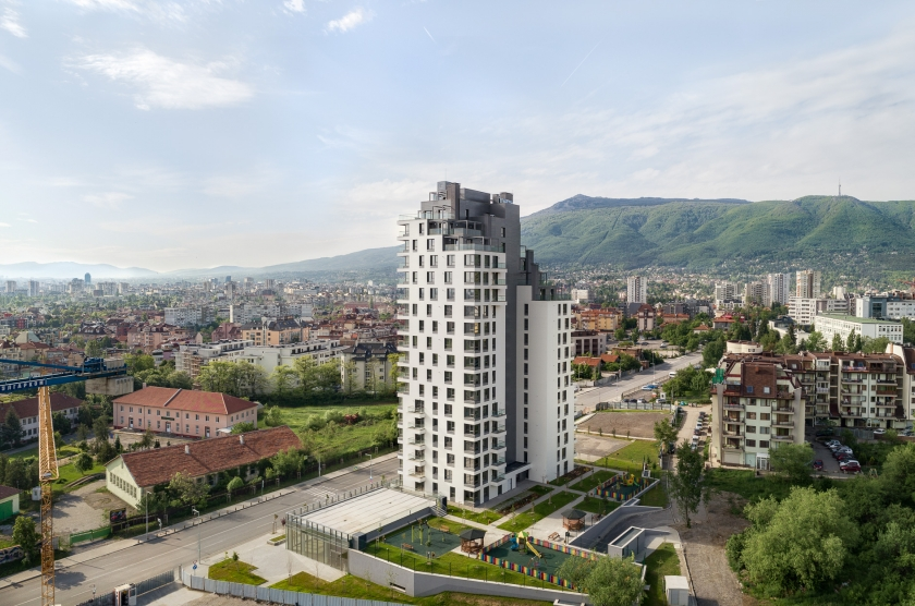 """Apartment residential building """"G Tower"""" with shops and underground parking"""
