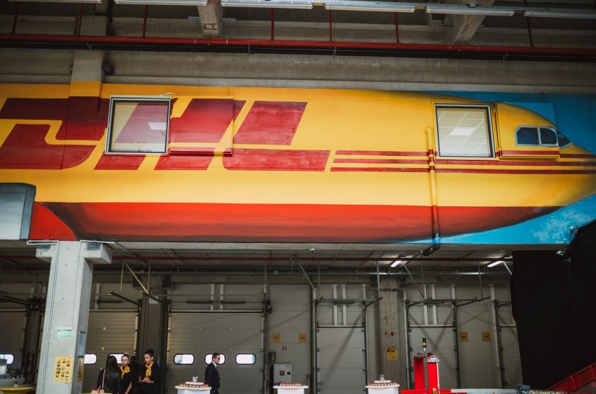 Logistic center with administration part for DHL Express with underground parking